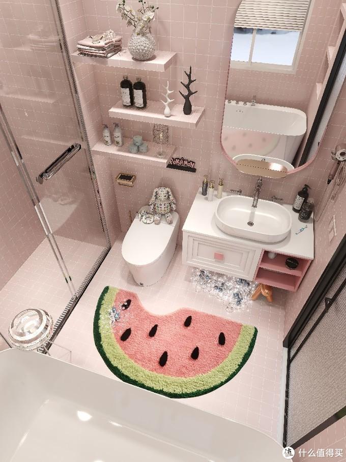 粉色浴室🌸️泡澡淋浴都有,花洒还可置物!