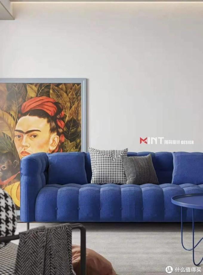 ▲敦厚的沙发,即使颜色清爽,但观感也是让人非常想要情不自禁的陷进去