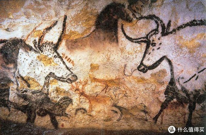 Depiction of aurochs, horses and deer
