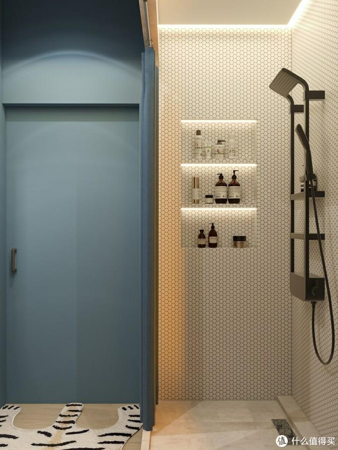 蓝白卫生间💙️宽敞浴室柜+可置物淋浴花洒
