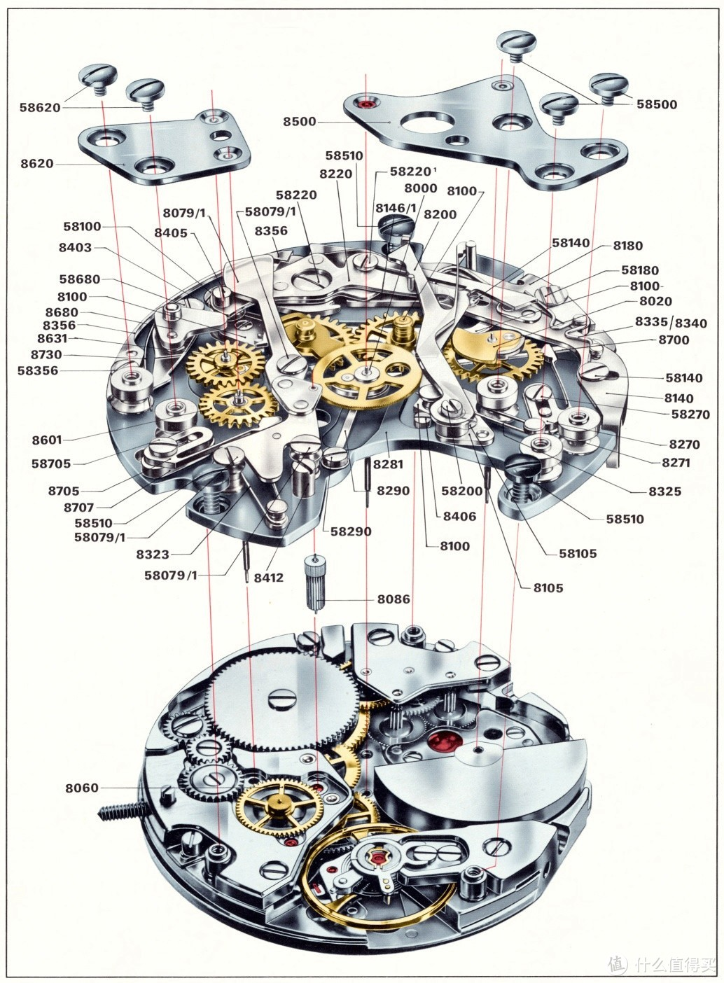 Cal.11自动计时机芯剖面图