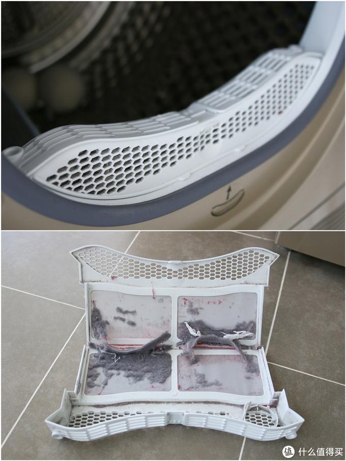 烘干机绒毛收集器,可以看到衣物的绒毛,甚至是纸巾都会被收集到这里。