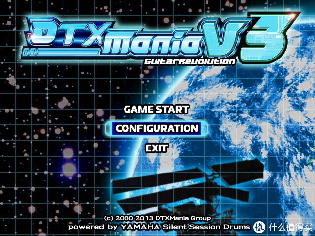 DTX Mania主界面,除了鼓,这款游戏也支持贝斯和吉他的演奏,如果有三个小朋友,就可以一起组成乐队了。
