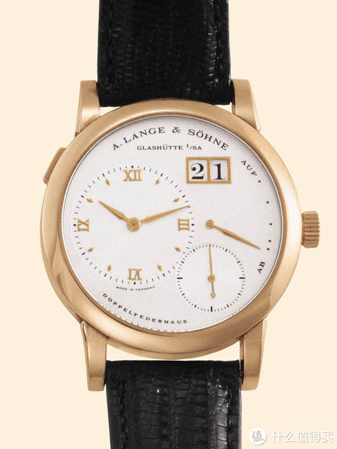 1994年生产的Lange 1,玫瑰金表壳,直径为38.5毫米。在2013年5月21日的安帝古伦拍卖会上以含佣价10580美元的价格成交。