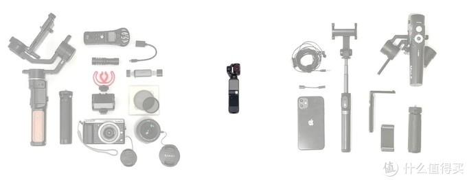 我的部分拍摄器材,相机阵营(左)手机阵营(右),能被一台Pocket2替代吗?看完就知道。