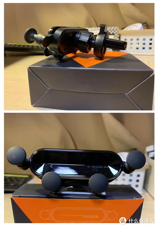 重力联动自动夹持支架,全塑料材质,4个固定点,标配出风口夹扣。夹扣有弹簧机构。
