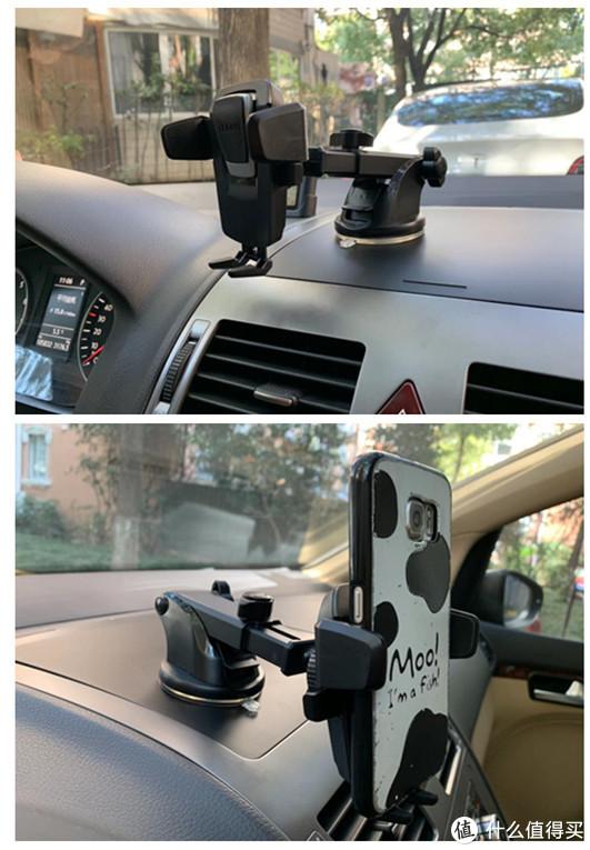为了尽量不影响驾驶视线,我把支架吸在中控台上进行实车体验。乐益的稳定性是几款支架中最好的,调整范围很大,单手可以顺利的取放手机。