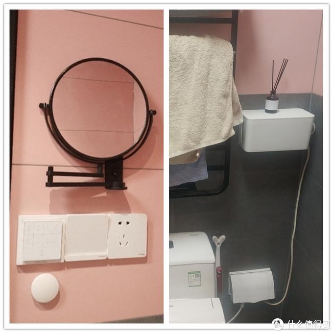 左图是浴霸的控制器和无线开关;右图中间集线盒里有一个智能插座连接电热毛巾架,下面防水盒内有智能插座连接马桶盖