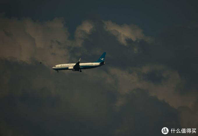 一架降落的飞机与鸟儿擦肩而过,这只不过是错位摄影,其实离很远。EOS R