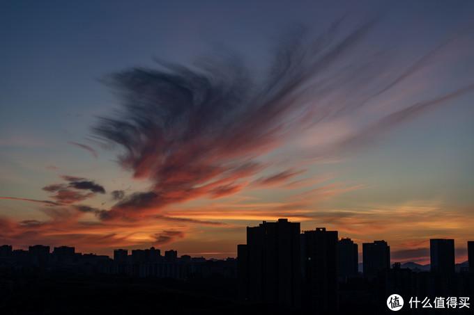 这张是8月的一天早上,日出太美了,云彩像一只展翅的凤凰,头,嘴,脚,翅膀,尾巴都栩栩如生。EOS R