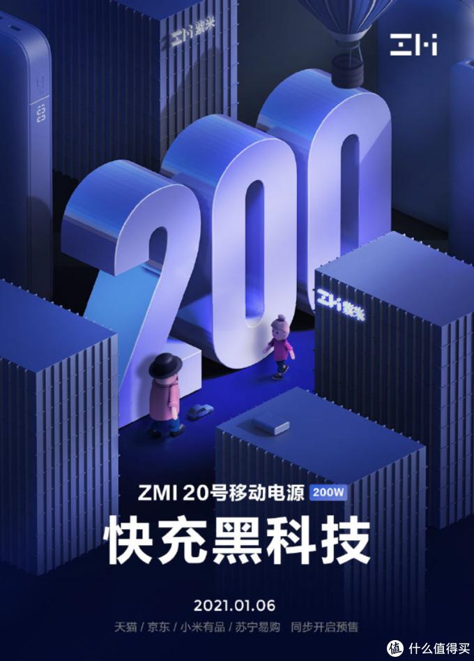 最高200W联合输出,能带上飞机:紫米20号移动电源将于1月6日上市发售
