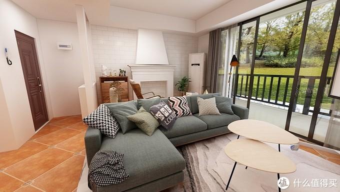 沙发选用浅灰或者浅绿色的布艺沙发