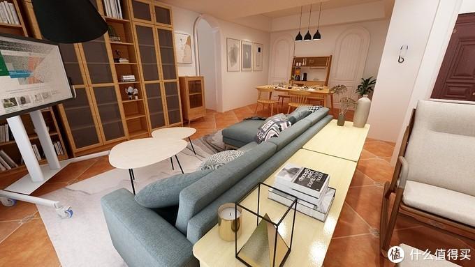 沙发下铺地毯增加房间的层次感