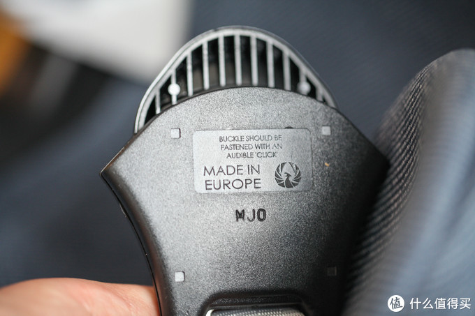 安全带锁扣的背面,欧洲制造