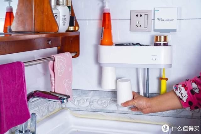 安全放心,不占空间,全格智能杀菌牙刷杯架