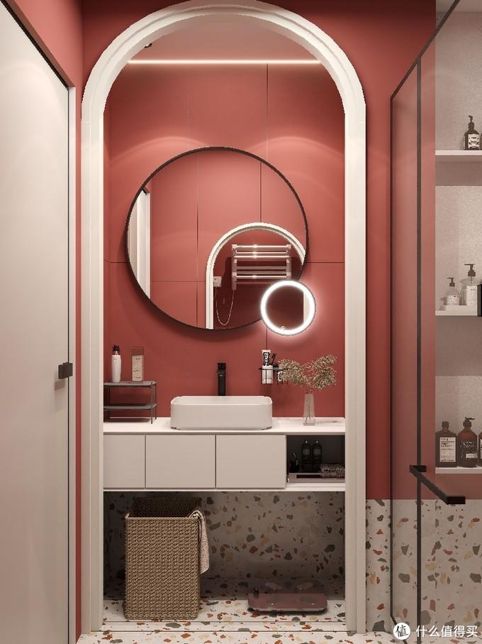 3.5㎡复古红浴室,使用智能马桶仿佛走进电影里