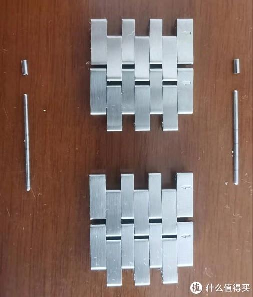 左边的子母套杆里的膨胀套由于表带节没对正被砸歪壳了