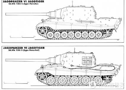 上图为猎虎(保时捷)坦克歼击车,特征是八个较小的单排负重轮;下图为猎虎(亨舍尔)坦克歼击车,特征是九个较大的交错负重轮,与虎王坦克一致