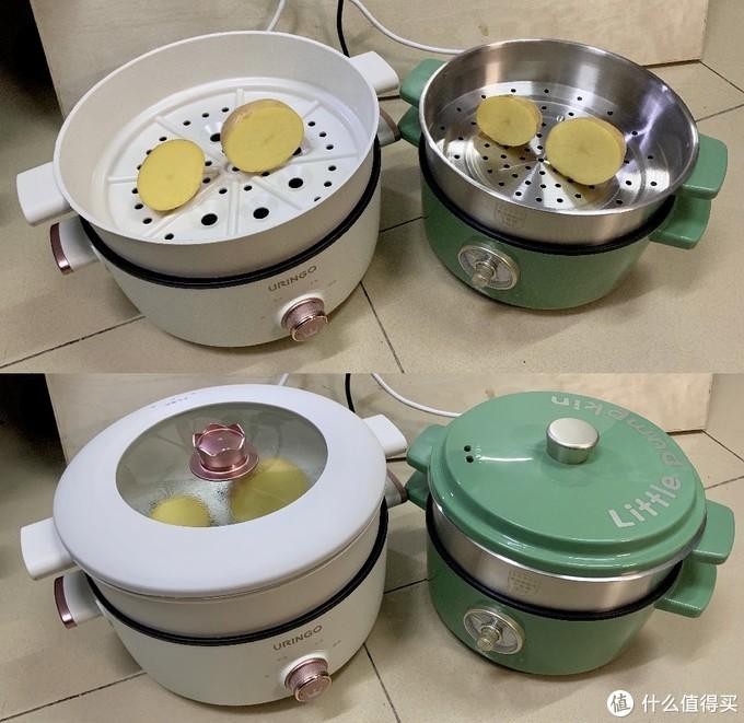 在其中分别放入大小不同的半个土豆,盖盖计时蒸10分钟。