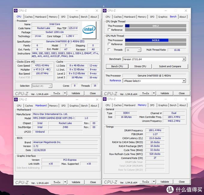 这颗ES cpu是8C16T 默认睿频4.8G,全核睿频4.3G。我是直接手动设置全核4.7G Ring频率4.4G,内存3600MHZ。从CPUZ内存频率这页可以看到一个类似AMD ZEN2系列CPU上的FCLK频率的Mem Controller Freq频率,目前内存频率要超过3600-3733后就会分频变成1:2从而内存效能会大打折扣延迟也会增加10NS左右