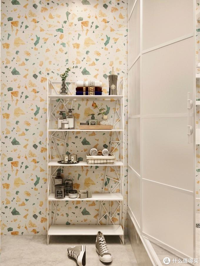3㎡奶油色系+水磨石🌈️白色淋浴花洒亮眼