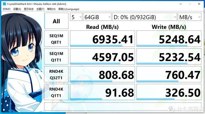 CrystalDiskMark 64GB成绩