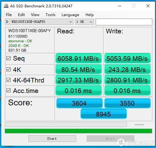 AS SSD Benchmark 1GB成绩