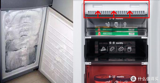 (左为直冷式冰箱,右为风冷式冰箱)