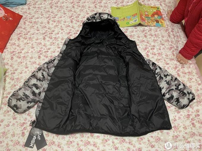图书馆猿の儿童羽绒服2020冬装迷彩加绒保暖两面穿羽绒外套 简单晒