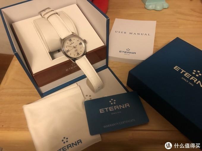 绮年华传统孔雀蓝表盒,说明书、保卡全套