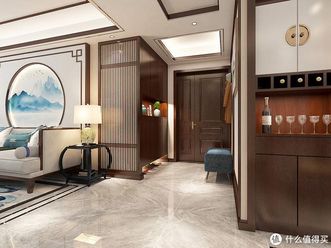 她家128㎡的中式风装修,客厅圆形的造型太有意境,表现出方圆之美
