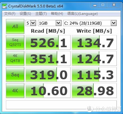 CrystalDiskMark做一下读取测试