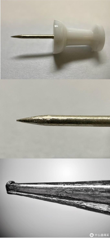 第一是原物体(图钉)第二张是手机微距,第三张就是显微镜物镜+长焦头的效果(当然还要照片堆栈处理)