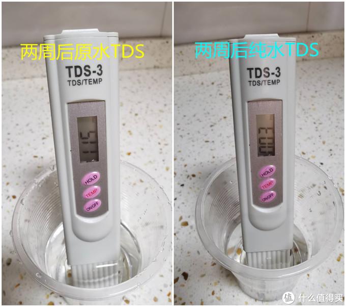 大约使用2周之后的测试结果,脱盐率有97点多了,嗯,感觉不错呢,不过这是在打开龙头制水约3分钟之后才接的水,刚制水1分钟之后的纯水TDS还没这么低,依然慢热