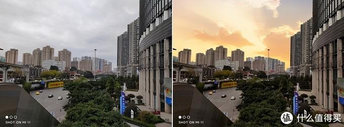 """(▲左为小米11拍摄原图,右为小米11""""魔法换天""""处理的图片)"""
