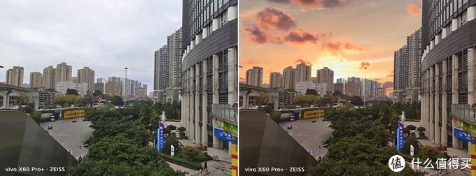 """(▲左为vivo X60 Pro+拍摄原图,右为vivo X60 Pro+魔法天空""""处理的图片)"""
