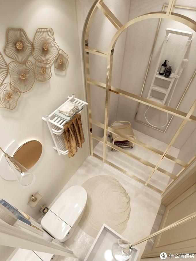 轻奢风浴室的北欧风花洒 洗澡超爽还能置物!