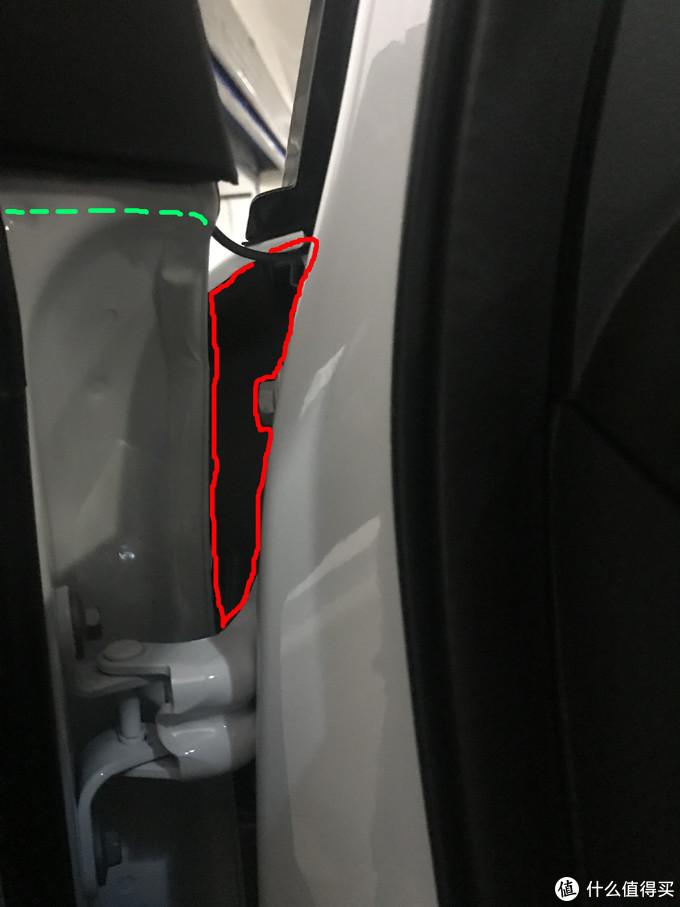 红线区域内的空隙还是很大的,穿线操作不难。绿色虚线大概是在车外的走向