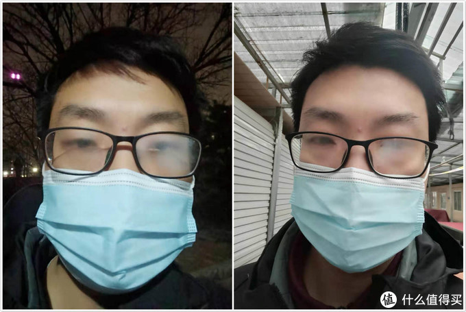 普通口罩戴上以后,眼镜全是雾气