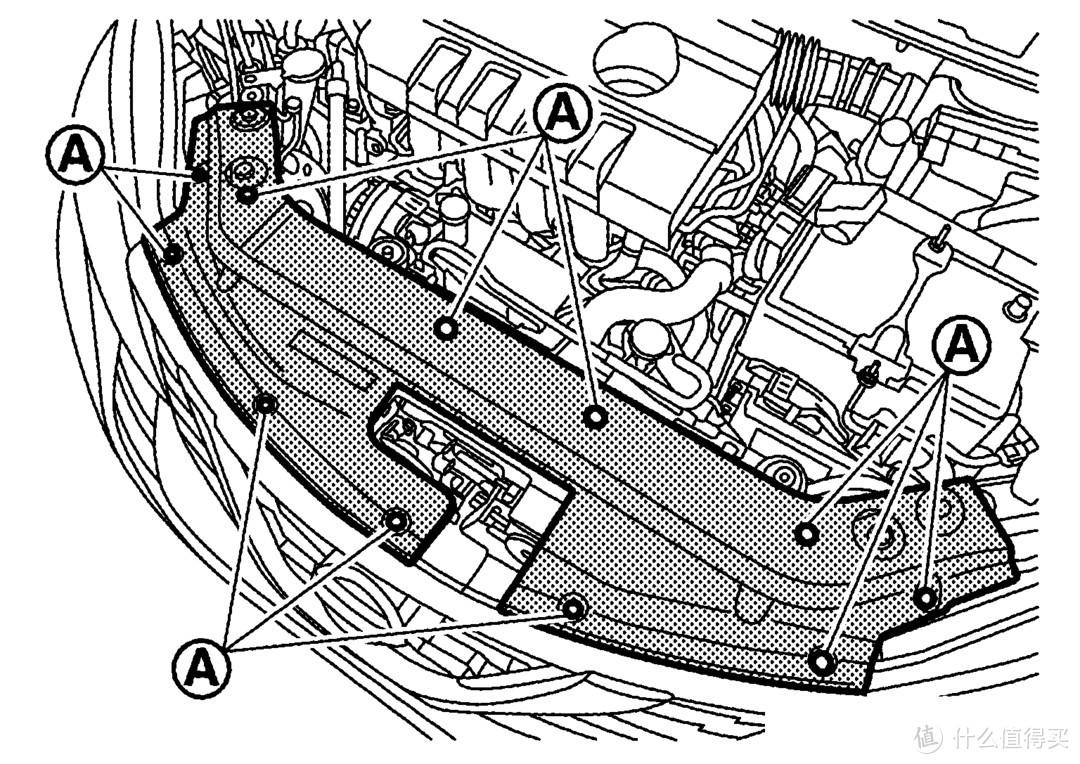 打开发动机舱,拆除装饰盖板,卡扣固定