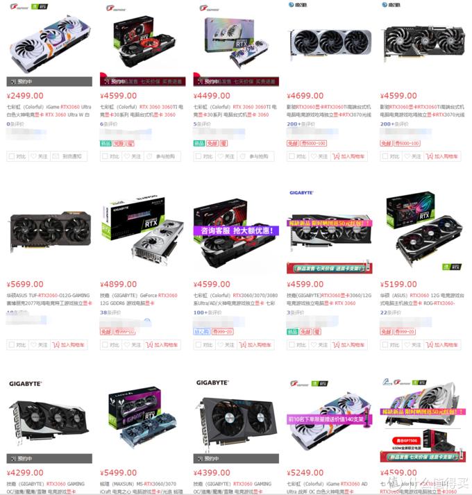 ¥2499开卖的RTX3060显卡,非预约现货价格已被炒至¥4~5000元之巨