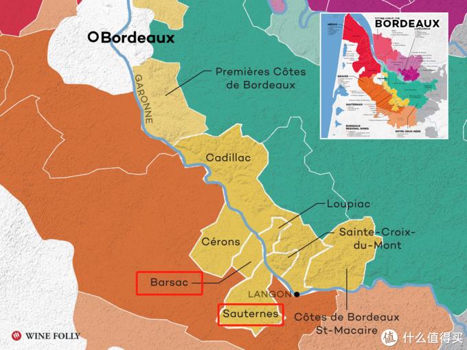(标注出来的是巴萨克和苏玳,最好的贵腐酒产区。周围的几个卫星产区都有生产入门级贵腐酒)