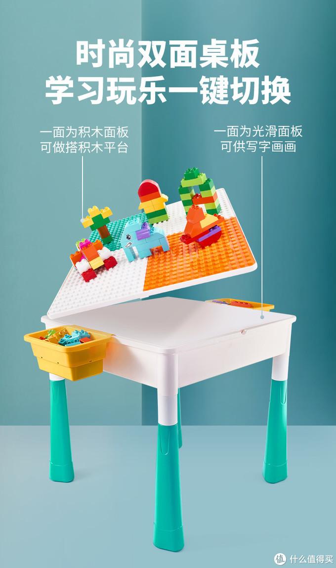 功能还是可以的,可以玩小乐高,大积木,还能翻面当桌子。送两把椅子,真不错