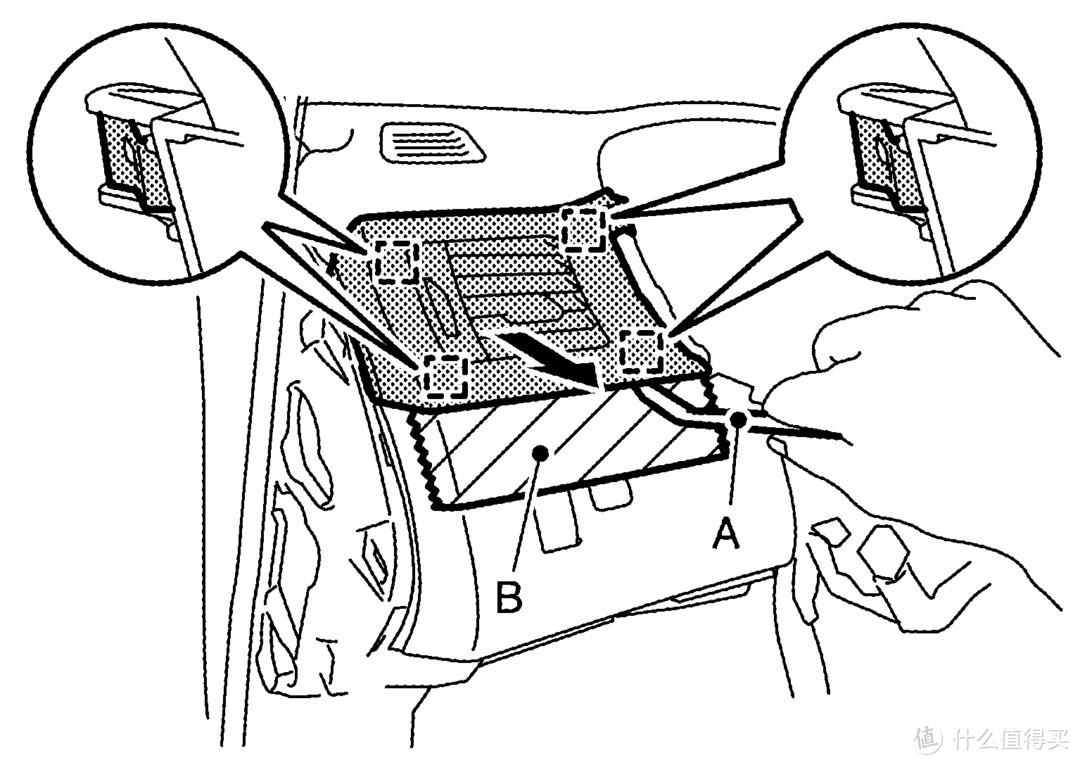 分离固定爪后拆下左侧通风格栅