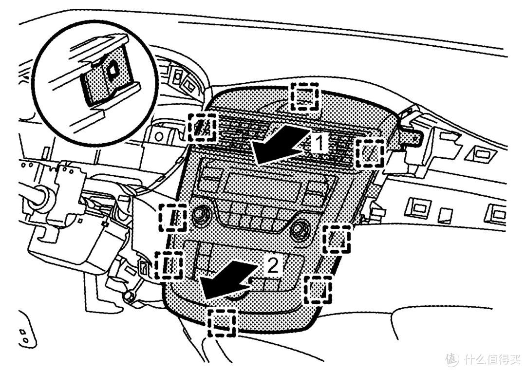 向箭头方向就可以拿下导航车机,需要留意背面的连接线束