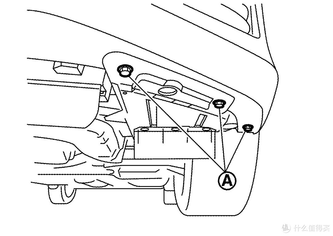拆下前翼子板护板安装螺栓