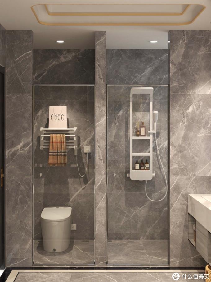 高级灰浴室|智能马桶+浴缸+花洒三分离