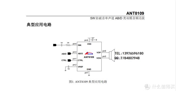 ANT8109功率5W防破音单声道 AB/D类双模音频功放