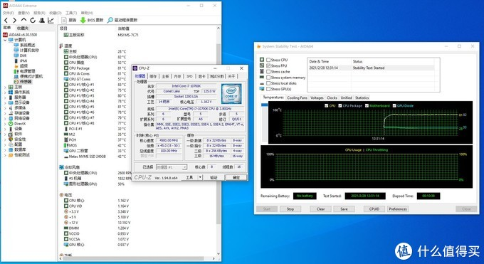 1.15V 4.5G下AIDA64 FPU负载10分钟82度