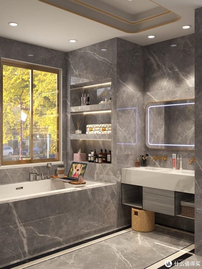 质感超好的大理石灰浴室 智能马桶怎么选